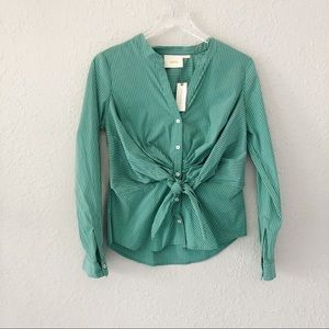 Anthropologie Maeve Green Katherine Knot Top NWT 6